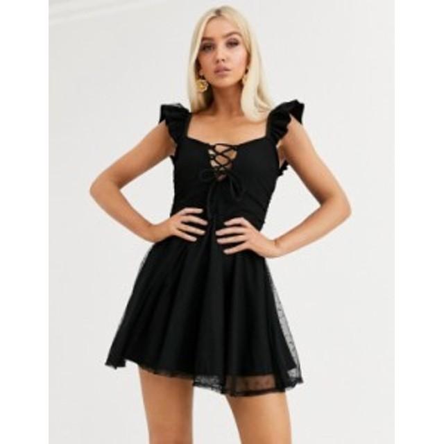 エイソス レディース ワンピース トップス ASOS DESIGN dobby lace ruched mesh skater mini dress Black