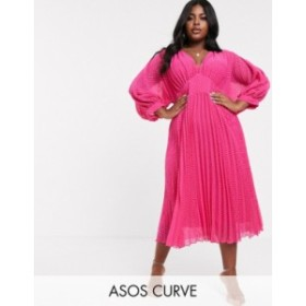 エイソス レディース ワンピース トップス ASOS DESIGN Curve pleated batwing midi dress in chevron dobby Hot pink
