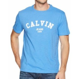 Calvin Klein カルバンクライン ファッション トップス Calvin Klein Mens Blue Size 2XL Block Letter Graphic Crew Tee T-Shirt