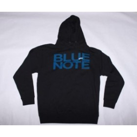 ファッション トップス Blue Note Records-Blue Note Logo-Large Black Hooded Sweatshirt
