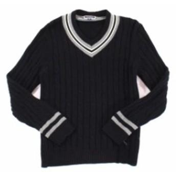 ファッション トップス INC Mens Deep Black Size 2XL Tipped Pullover V-Neck Cable Knit Sweater