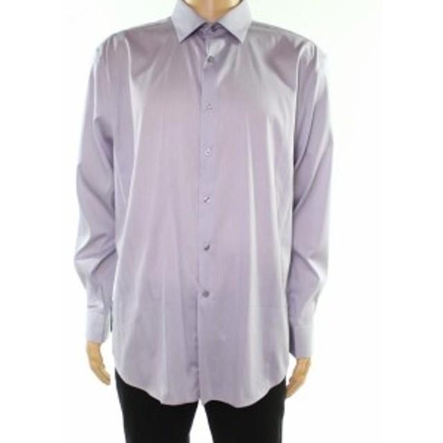Alfani  ファッション ドレス Alfani NEW Gray Mens Size 17 1/2 Stripe Print Atletic Fit Dress Shirt