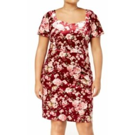 Monteau  ファッション ドレス Monteau NEW Red Womens Size 2X Plus Floral-Print Velvet Sheath Dress