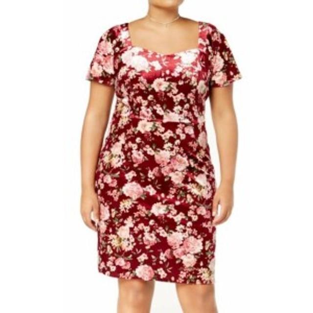 Monteau  ファッション ドレス Monteau NEW Red Womens Size 2X Plus Floral-Print Velvet Sheath Dress