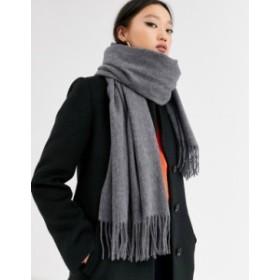 エイソス レディース マフラー・ストール・スカーフ アクセサリー ASOS DESIGN oversized wool scarf with tassels in gray Charcoal gre