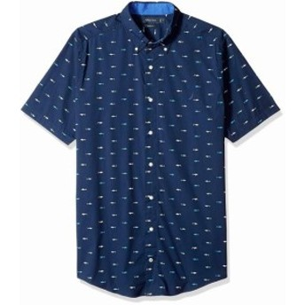 nautica ノーティカ ファッション アウター Nautica Mens Navy Blue Size 3XL Big Shark Print Button Down Shirt