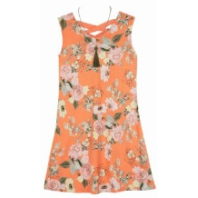Amy Byer  ファッション ドレス Amy Byer NEW Orange Girls Size Large L Floral Print V-Neck Dress