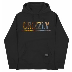 grizzly グリズリー ファッション トップス Grizzly Griptape Mens Stamp Scenic Bear Pullover Hoodie Black Hooded Top NWT