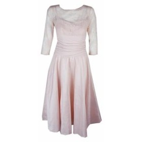Jessica Howard ジェシカハワード ファッション ドレス Jessica Howard Pink 3/4-Sleeve Lace A-Line Cocktail Dress 6