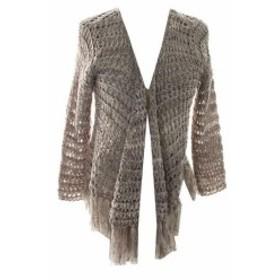 ファッション トップス Inc International Concepts NEW Grey tapeyarn Fringed Cardigan L