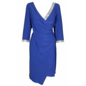 ファッション ドレス MSK Oversize Blue Decorated False Wrap Dress 1X