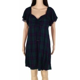 Plaid  ファッション ドレス Charmed Hearts Womens Dress Green Large L Shift Ruffle Tie Front Plaid