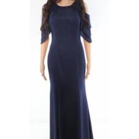 Betsy & Adam ベッツィアンドアダム ファッション ドレス Betsy & Adam NEW Blue Embellished Off-Shoulder Womens 4 Gown Dress