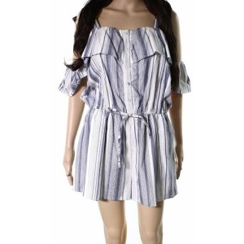 Angie アンジー ファッション ジャンプスーツ Angie NEW Blue White Womens Size Large L Striped Cold Shoulder Romper