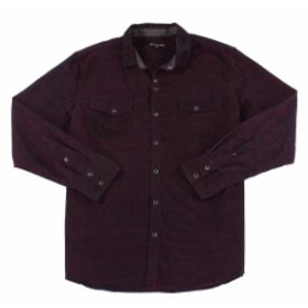 Pocket  ファッション アウター INC Mens Bright Rhubarb Red Size XL Pocket Button Down Corduroy Shirt