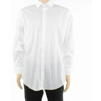 Alfani  ファッション ドレス Alfani Mens Dress Shirt White Size XL 17-17 1/2 Performance Slim Fit