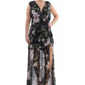 GUESS ゲス ファッション ドレス Guess Womens Dress Black Size XS Floral Sheer Metallic Slit Maxi