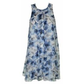 Calvin Klein カルバンクライン ファッション ドレス Calvin Klein Ice Blue Sleeveless Floral-Print Pleated Shift Dress 4