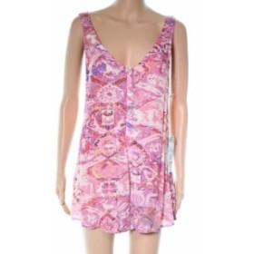 ファッション ジャンプスーツ Mumu NEW Pink Printed V-Neck Button Front Women XS Playsuit Romper