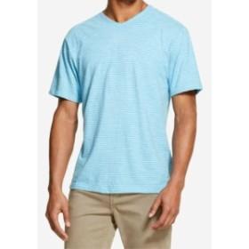 DKNY ダナキャランニューヨーク ファッション トップス DKNY NEW Water Pool Blue Mens Size 2XL V Neck Textured Stripe T-Shirt