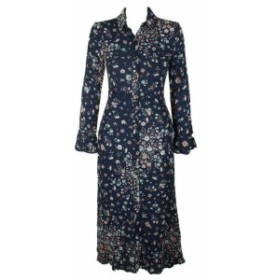 American  ファッション ドレス American rag junior blue combo floral print maxi shirtdress
