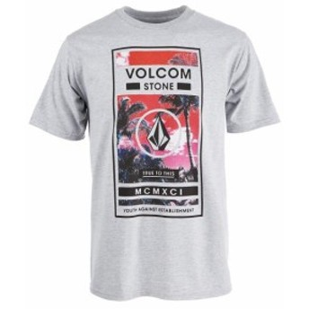 HEATHER  ファッション トップス Volcom Stone Mens Heather Gray Size Small S Bungle Graphic Tee T-Shirt #103