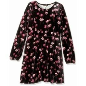 Ella Moss エラモス ファッション ドレス Ella Moss Girls Dress Black Pink Size 10 Velvet Floral Long Sleeve