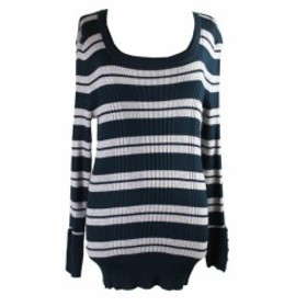 ファッション トップス Hooked Up Juniors Teal Grey Ribbed Striped Sweater XL
