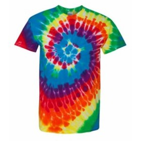 Rainbow レインボウ ファッション トップス Dyenomite Mens Rainbow Spiral T-Shirt 200MS S-2XL
