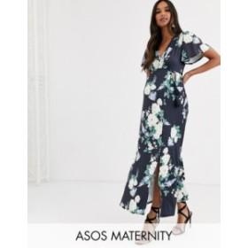 エイソス レディース ワンピース トップス ASOS DESIGN Maternity floral flutter sleeve maxi dress with tassle belt Blue floral