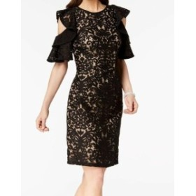 Ruffle  ファッション ドレス Xscape NEW Black Womens Size 8 Floral Lace Ruffle Sheath Dress