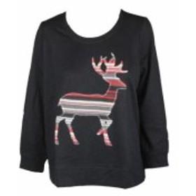 ファッション トップス Style & Co. Plus Size Black Reindeer sweatshirt