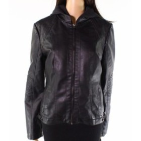 Gallery ギャラリー ファッション 衣類 G Gallery NEW Black Womens Size Medium M Faux-Leather Hooded Jacket