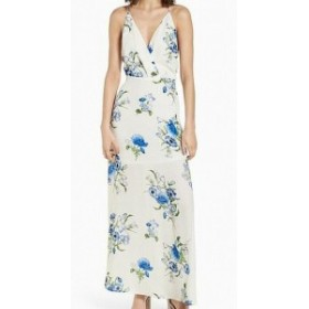 Lush ラッシュ ファッション ドレス Lush NEW White Ivory Blue Floral Womens Small S Surplice Maxi Dress