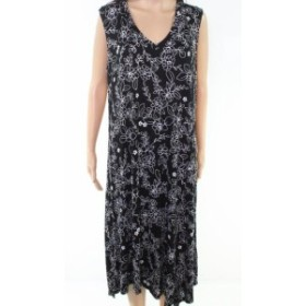 MARC NEW YORK マークニューヨーク ファッション ドレス Marc New York Womens Black Size 1X Plus Floral Pront V-Neck Maxi Dress