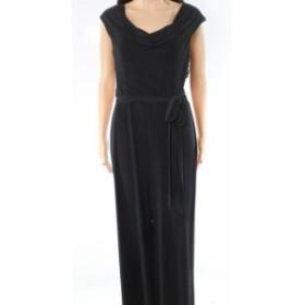 ファッション ジャンプスーツ Connected Apparel NEW Black Cowl Neck Womens Size 8 Waist-Tie Jumpsuit