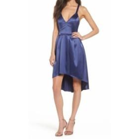 Sequin  ファッション ドレス SEQUIN HEARTS NEW Blue Size 7 Junior Pleated Hi-Low Satin Sheath Dress