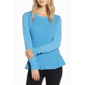 ファッション トップス Halogen Womens Blue Size PXS Petite Peplum Knitted Crewneck Sweater