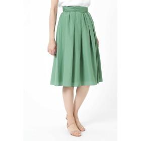 NATURAL BEAUTY [ウォッシャブル]ライトタンブラーギャザーベルトタックスカート ひざ丈スカート,グリーン