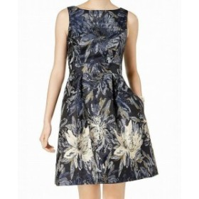 Jessica Howard ジェシカハワード ファッション ドレス Jessica Howard NEW Blue Womens 14 Floral-Print Brocade A-Line Dress