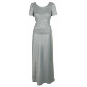 Alex Evenings アレックスイブニングス ファッション ドレス Alex Evenings Mint Glitter Lace Panel Short-Sleeve Gown 8