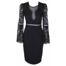 Bardot バルドー ファッション ドレス Bardot Black Lace-Detail Mixed Media Bell-Sleeve Knee Length