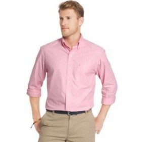 IZOD アイゾッド ファッション アウター Izod Mens Essential Poplin Rapture Rose Long Sleeve Button Down Shirt Sz: S