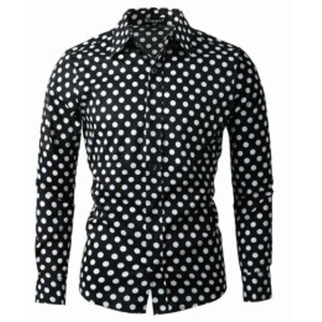 ファッション ドレス Allegra K NEW Black White Mens Size Medium M Polka Dot Dress Shirt