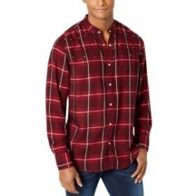 star スター ファッション アウター INC NEW Port Royale Red Mens XL Star Studded Plaid Banded Collar Shirt