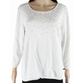 ファッション トップス Emaline Womens White Size Large L Embellished Shimmer Pullover Sweater