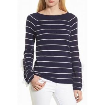 Chelsea28 チェルシートウェンティエイト ファッション トップス Chelsea28 Womens Sweater White Blue Size Medium M Boat Neck Ruffled