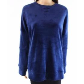 Calvin Klein カルバンクライン ファッション トップス Calvin Klein NEW Blue Womens Size Large L Velvet Pullover Sweater