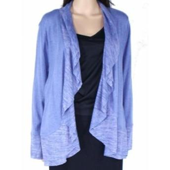 ファッション トップス Style & Co Womens Sweater Blue Size Large L Cardigan Knit Open Front
