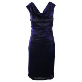 ファッション ドレス Connected Apparel Blue Metallic Cowl-Neck Sheath Dress 6